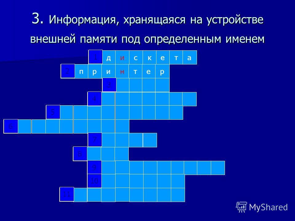 2. Устройство вывода информации на бумажный носитель дискета 1 2 3 4 5 6 7 8 9 10 11 1 2 3 4 5 6 7 8 9 10 11