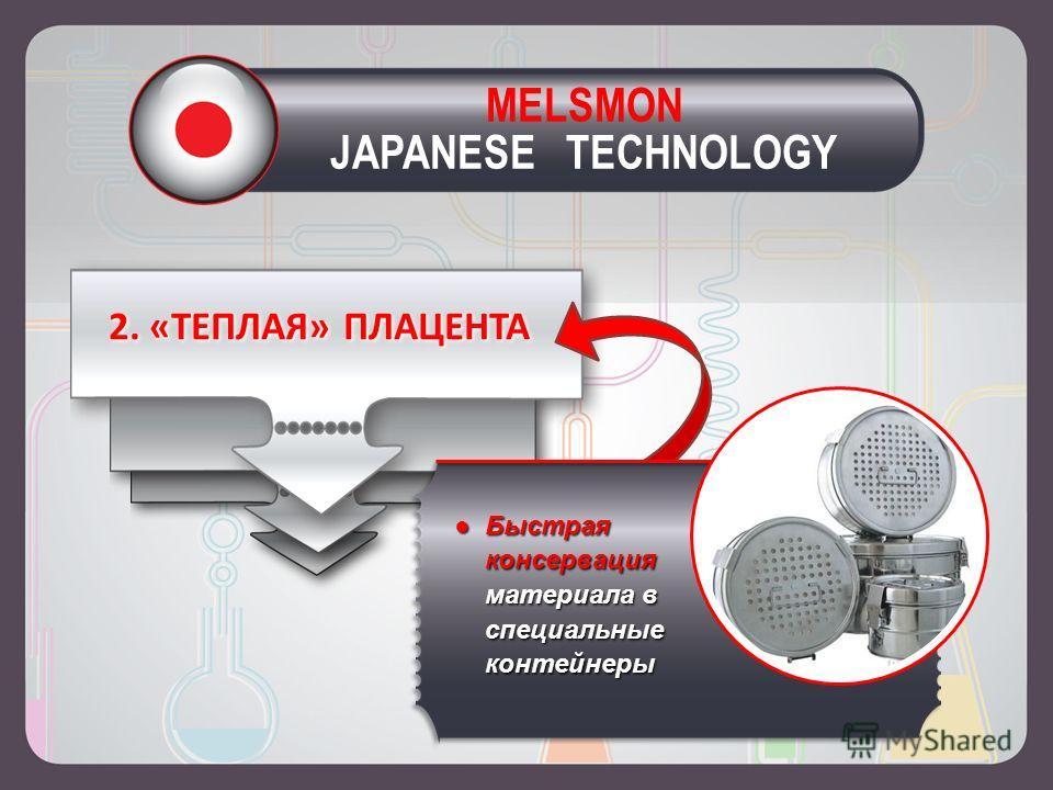 2. «ТЕПЛАЯ» ПЛАЦЕНТА Быстрая консервация материала в специальные контейнерыБыстрая консервация материала в специальные контейнеры MELSMON JAPANESE TECHNOLOGY