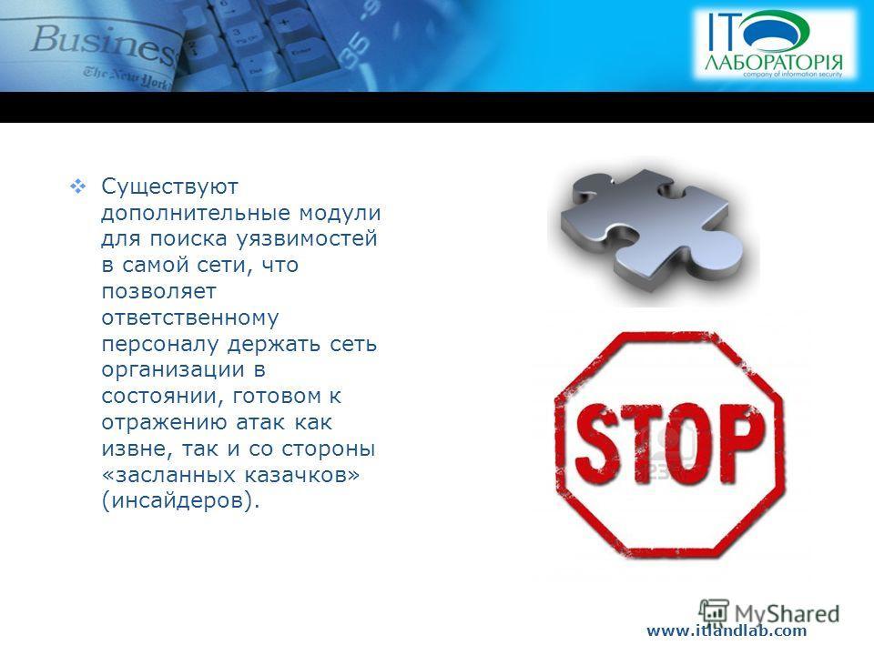 www.itlandlab.com Hot Tip Существуют дополнительные модули для поиска уязвимостей в самой сети, что позволяет ответственному персоналу держать сеть организации в состоянии, готовом к отражению атак как извне, так и со стороны «засланных казачков» (ин