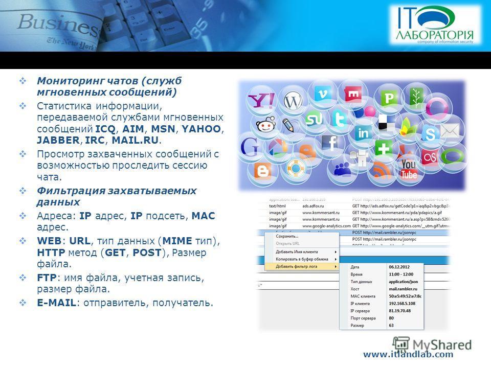 www.itlandlab.com Hot Tip Мониторинг чатов (служб мгновенных сообщений) Статистика информации, передаваемой службами мгновенных сообщений ICQ, AIM, MSN, YAHOO, JABBER, IRC, MAIL.RU. Просмотр захваченных сообщений с возможностью проследить сессию чата