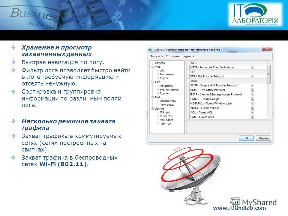 www.itlandlab.com Hot Tip Хранение и просмотр захваченных данных Быстрая навигация по логу. Фильтр лога позволяет быстро найти в логе требуемую информацию и отсеять ненужную. Сортировка и группировка информации по различным полям лога. Несколько режи