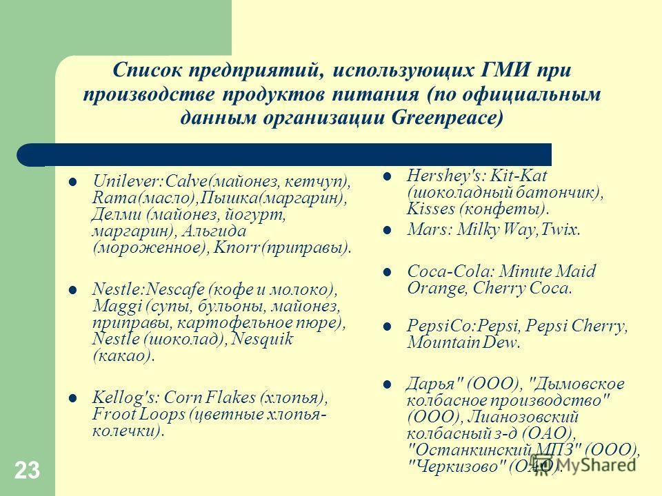 23 Список предприятий, использующих ГМИ при производстве продуктов питания (по официальным данным организации Greenpeace) Unilever:Calve(майонез, кетчуп), Rama(масло),Пышка(маргарин), Делми (майонез, йогурт, маргарин), Альгида (мороженное), Knorr(при