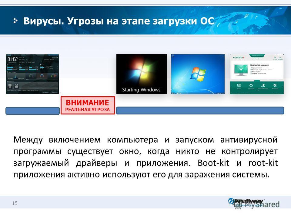 15 Вирусы. Угрозы на этапе загрузки ОС Между включением компьютера и запуском антивирусной программы существует окно, когда никто не контролирует загружаемый драйверы и приложения. Boot-kit и root-kit приложения активно используют его для заражения с