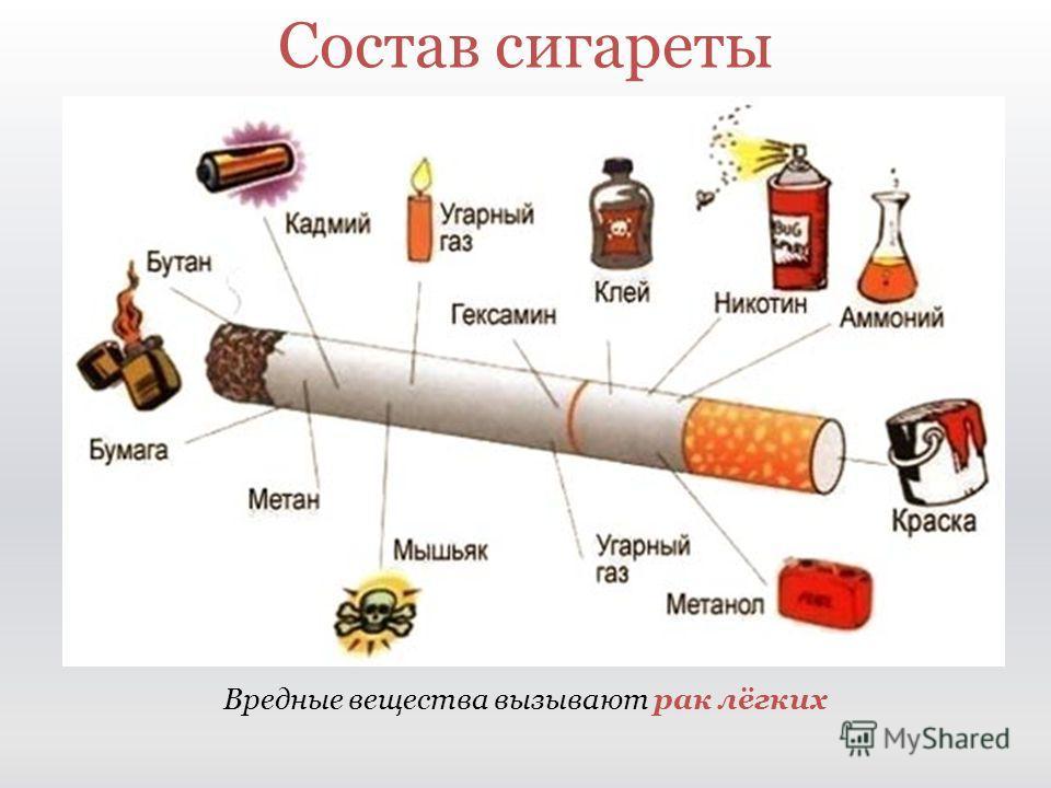 Вредные вещества вызывают рак лёгких Состав сигареты