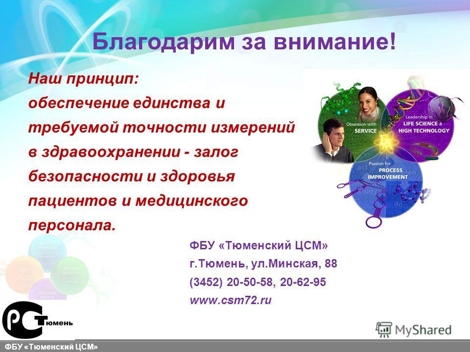 sigma-aldrich.com ФБУ «Тюменский ЦСМ» Благодарим за внимание! Наш принцип: обеспечение единства и требуемой точности измерений в здравоохранении - залог безопасности и здоровья пациентов и медицинского персонала. ФБУ «Тюменский ЦСМ» г.Тюмень, ул.Минс
