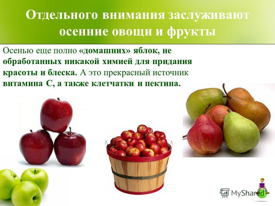 Отдельного внимания заслуживают осенние овощи и фрукты Осенью еще полно «домашних» яблок, не обработанных никакой химией для придания красоты и блеска. А это прекрасный источник витамина С, а также клетчатки и пектина.