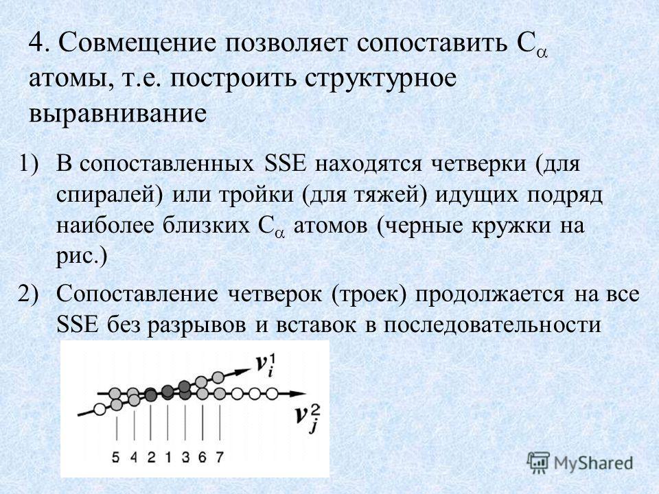 4. Совмещение позволяет сопоставить C атомы, т.е. построить структурное выравнивание 1)В сопоставленных SSE находятся четверки (для спиралей) или тройки (для тяжей) идущих подряд наиболее близких C атомов (черные кружки на рис.) 2)Сопоставление четве