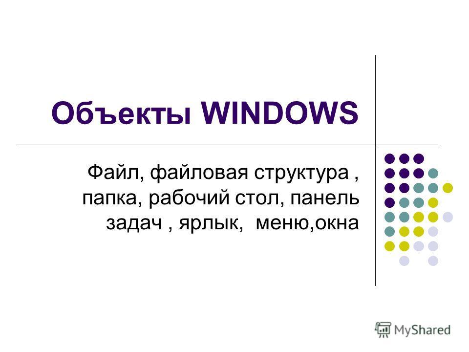 Объекты WINDOWS Файл, файловая структура, папка, рабочий стол, панель задач, ярлык, меню,окна