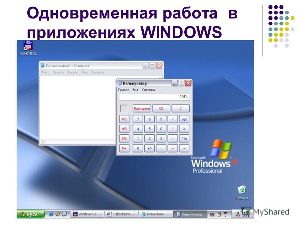 Одновременная работа в приложениях WINDOWS