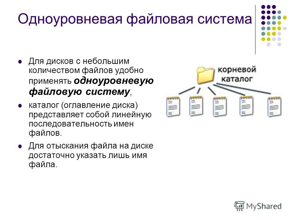 Одноуровневая файловая система Для дисков с небольшим количеством файлов удобно применять одноуровневую файловую систему, каталог (оглавление диска) представляет собой линейную последовательность имен файлов. Для отыскания файла на диске достаточно у
