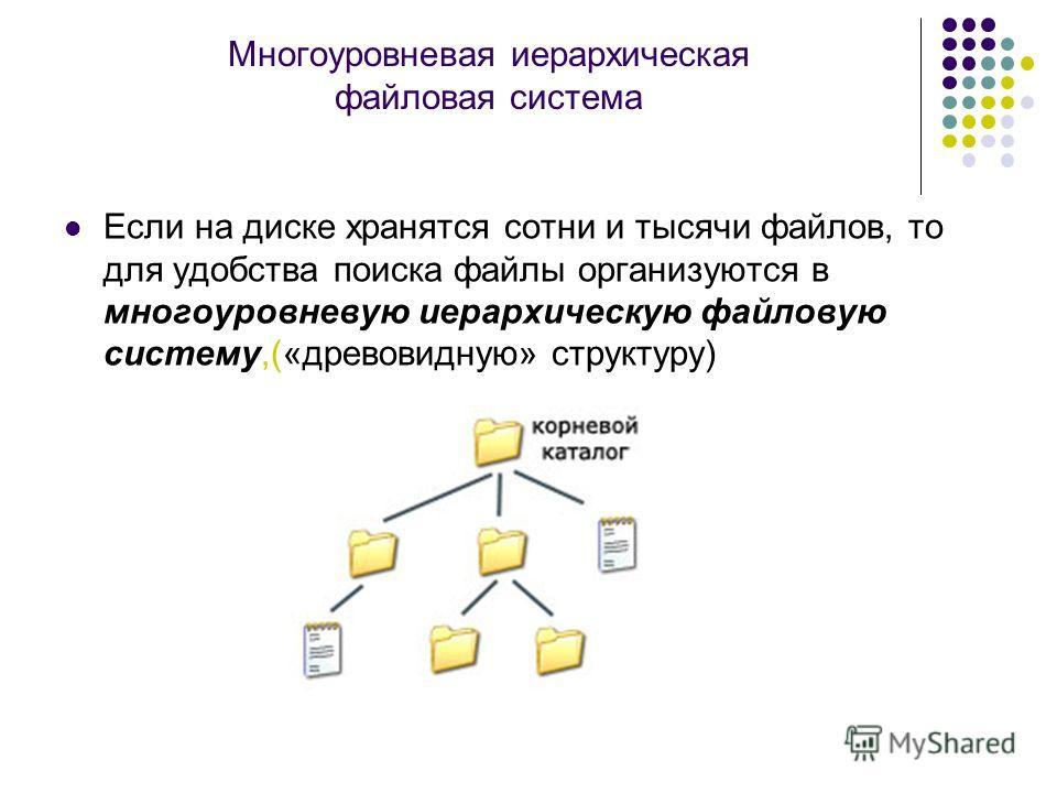 Многоуровневая иерархическая файловая система Если на диске хранятся сотни и тысячи файлов, то для удобства поиска файлы организуются в многоуровневую иерархическую файловую систему,(«древовидную» структуру)