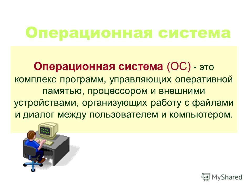 Операционная система Операционная система (ОС) - это комплекс программ, управляющих оперативной памятью, процессором и внешними устройствами, организующих работу с файлами и диалог между пользователем и компьютером.