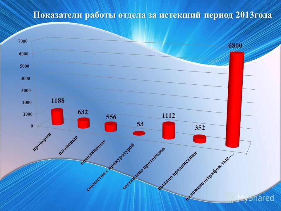Показатели работы отдела за истекший период 2013года