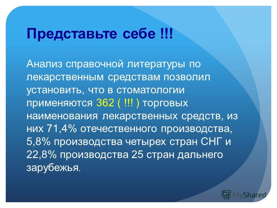 Представьте себе !!! Анализ справочной литературы по лекарственным средствам позволил установить, что в стоматологии применяются 362 ( !!! ) торговых наименования лекарственных средств, из них 71,4% отечественного производства, 5,8% производства четы