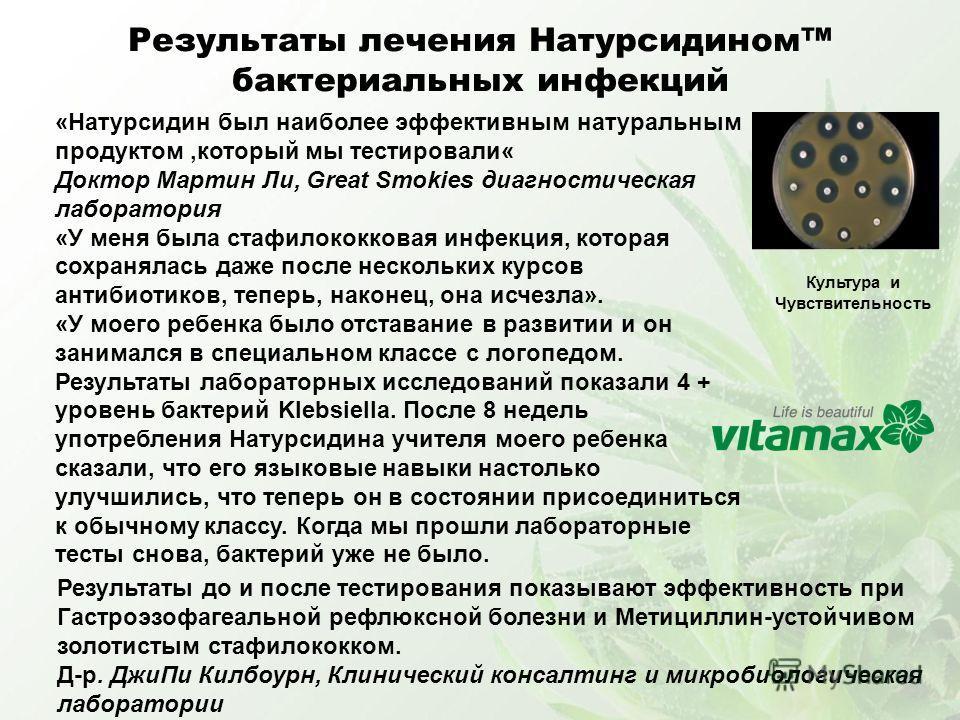 Результаты лечения Натурсидином бактериальных инфекций «Натурсидин был наиболее эффективным натуральным продуктом,который мы тестировали« Доктор Мартин Ли, Great Smokies диагностическая лаборатория «У меня была стафилококковая инфекция, которая сохра