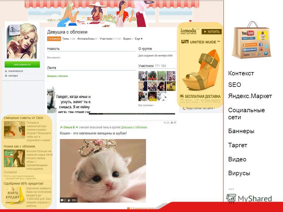 Контекст SEO Яндекс.Маркет Социальные сети Баннеры Таргет Видео Вирусы …