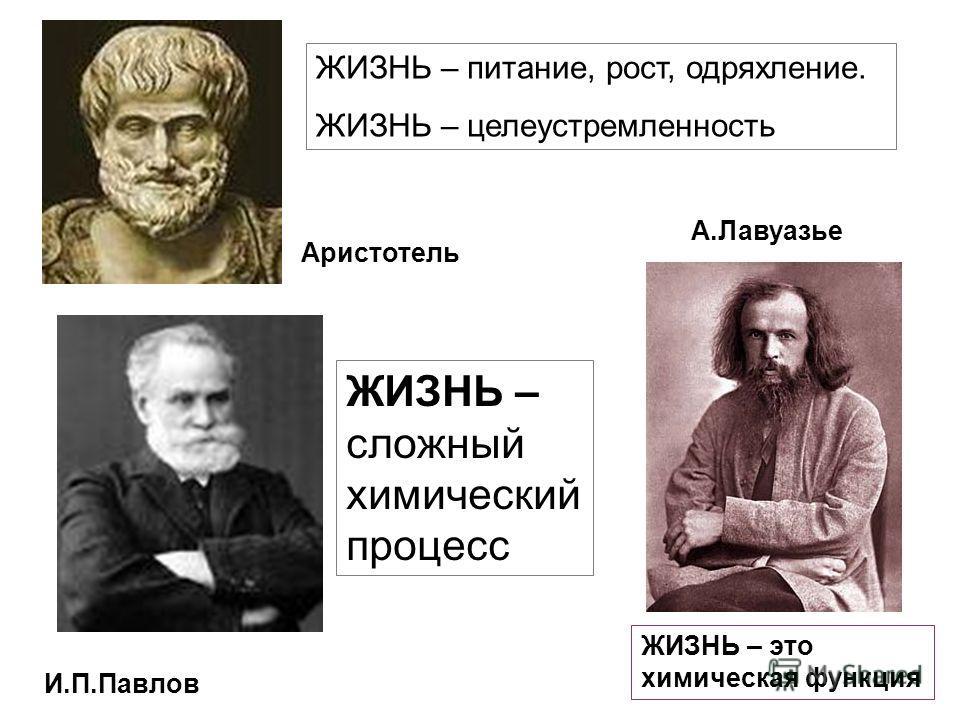 ЖИЗНЬ – питание, рост, одряхление. ЖИЗНЬ – целеустремленность ЖИЗНЬ – это химическая функция А.Лавуазье И.П.Павлов ЖИЗНЬ – сложный химический процесс Аристотель