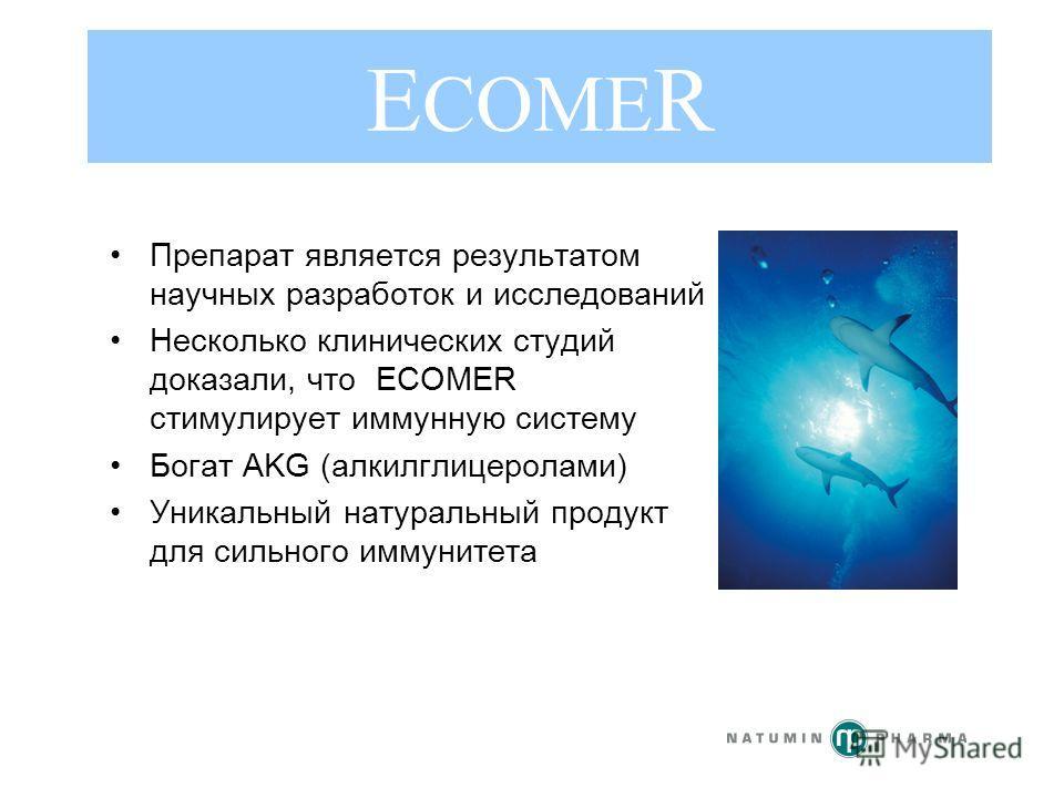 Препарат является результатом научных разработок и исследований Несколько клинических студий доказали, что ECOMER стимулирует иммунную систему Богат AKG (алкилглицеролами) Уникальный натуральный продукт для сильного иммунитета E COME R
