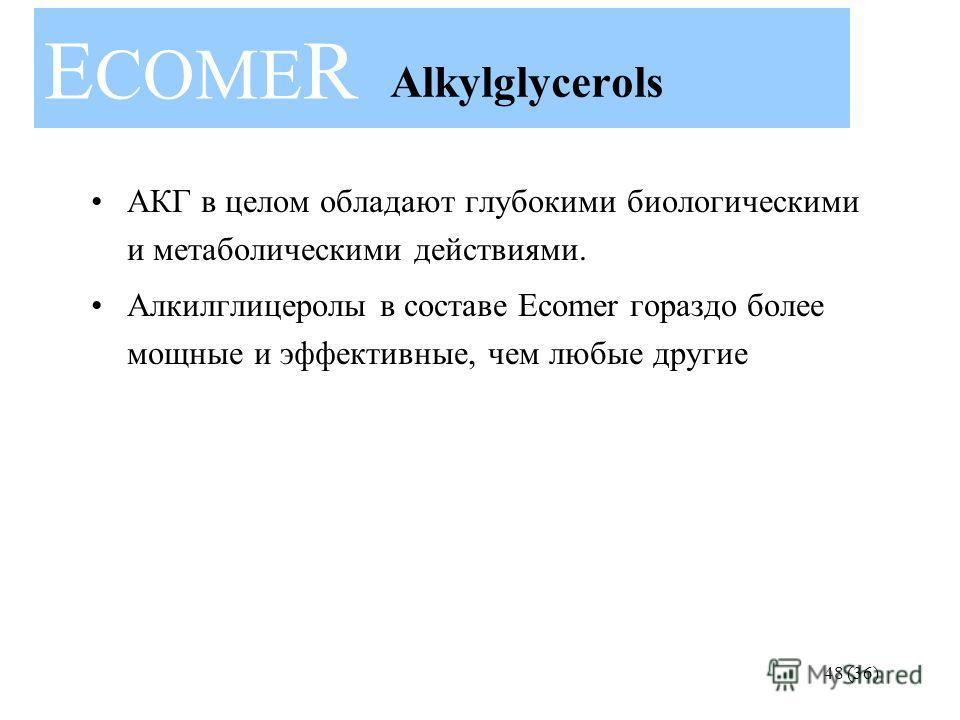 E COME R 48 (36) Alkylglycerols АКГ в целом обладают глубокими биологическими и метаболическими действиями. Алкилглицеролы в составе Ecomer гораздо более мощные и эффективные, чем любые другие