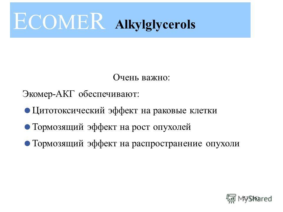 53 (36) Очень важно: Экомер-АКГ обеспечивают: Цитотоксический эффект на раковые клетки Тормозящий эффект на рост опухолей Тормозящий эффект на распространение опухоли E COME R Alkylglycerols