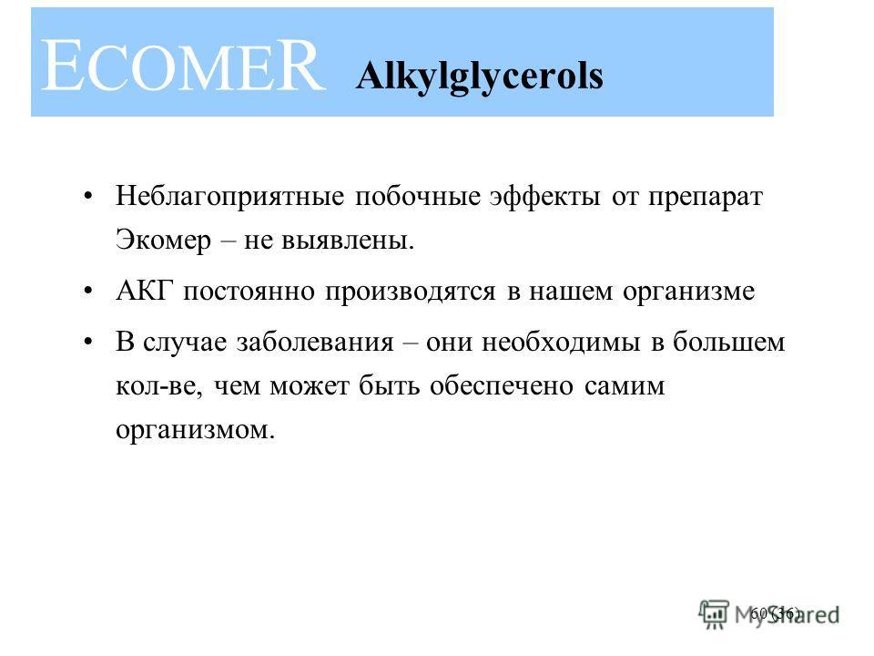 60 (36) Неблагоприятные побочные эффекты от препарат Экомер – не выявлены. АКГ постоянно производятся в нашем организме В случае заболевания – они необходимы в большем кол-ве, чем может быть обеспечено самим организмом. E COME R Alkylglycerols