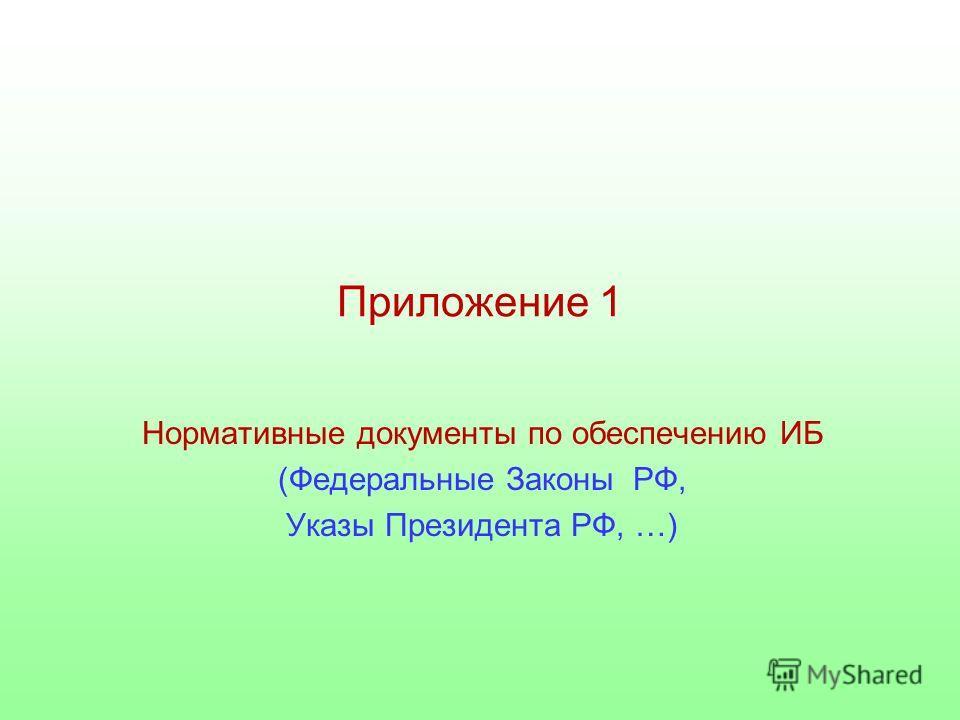 Приложение 1 Нормативные документы по обеспечению ИБ (Федеральные Законы РФ, Указы Президента РФ, …)