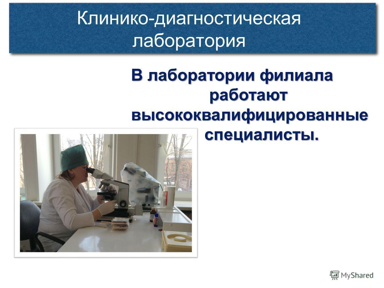 Клинико-диагностическая лаборатория В лаборатории филиала работают высококвалифицированные работают высококвалифицированные специалисты. специалисты.