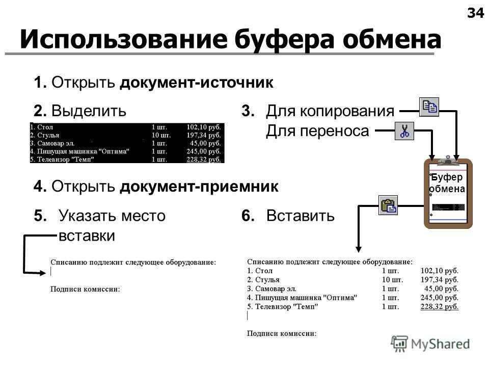 34 Использование буфера обмена Буфер обмена 2. Выделить 1. Открыть документ-источник 3.Для копирования Для переноса 4. Открыть документ-приемник 5.Указать место вставки 6.Вставить