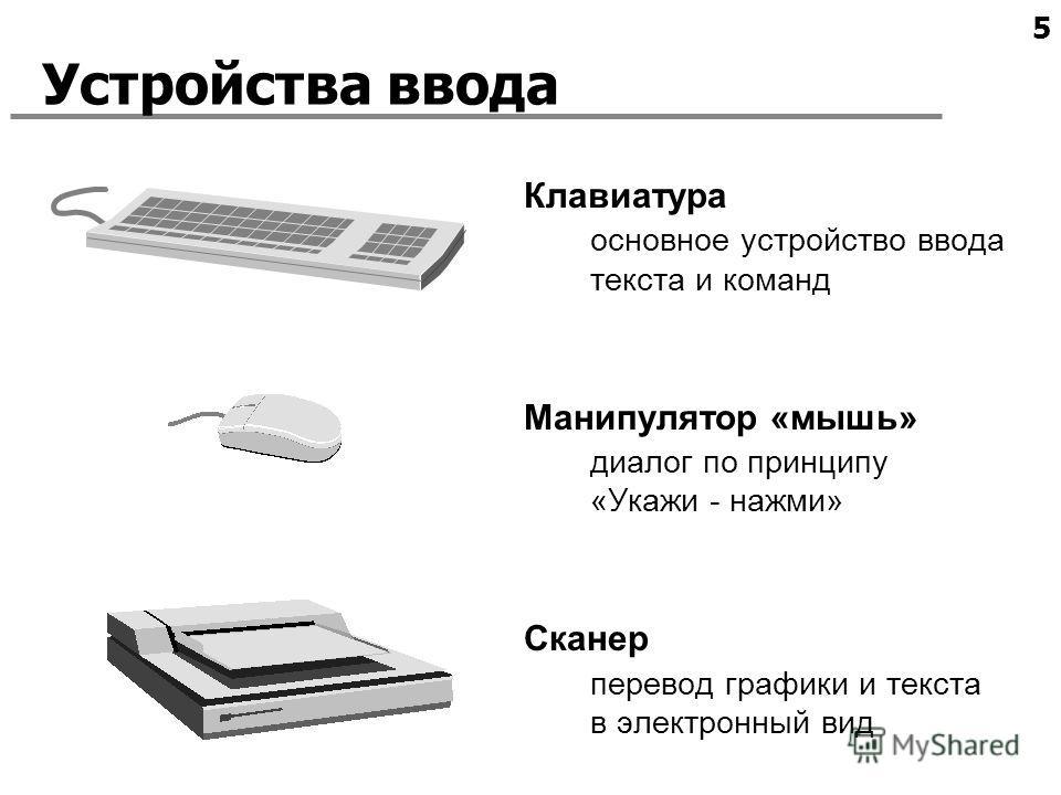 5 Устройства ввода Клавиатура основное устройство ввода текста и команд Манипулятор «мышь» диалог по принципу «Укажи - нажми» Сканер перевод графики и текста в электронный вид