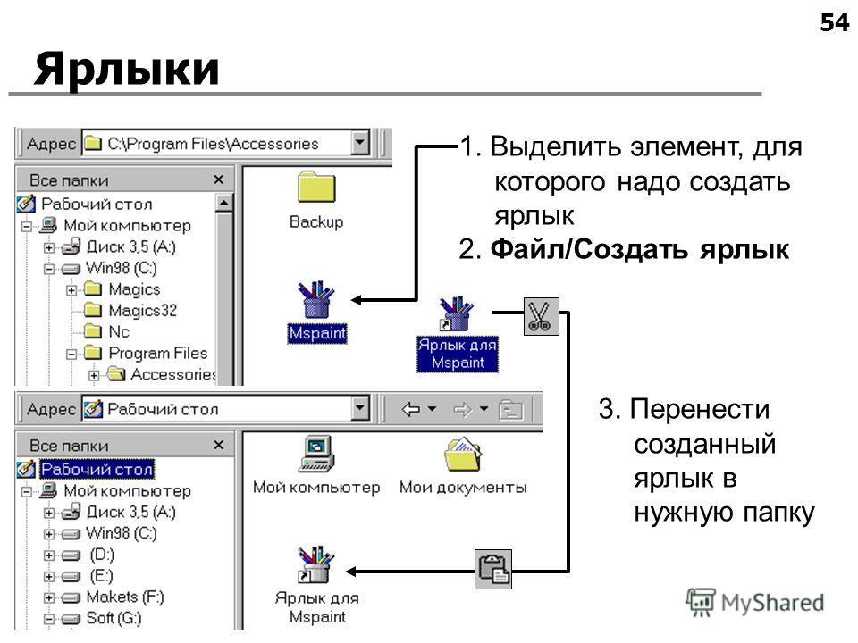54 Ярлыки 1. Выделить элемент, для которого надо создать ярлык 2. Файл/Создать ярлык 3. Перенести созданный ярлык в нужную папку