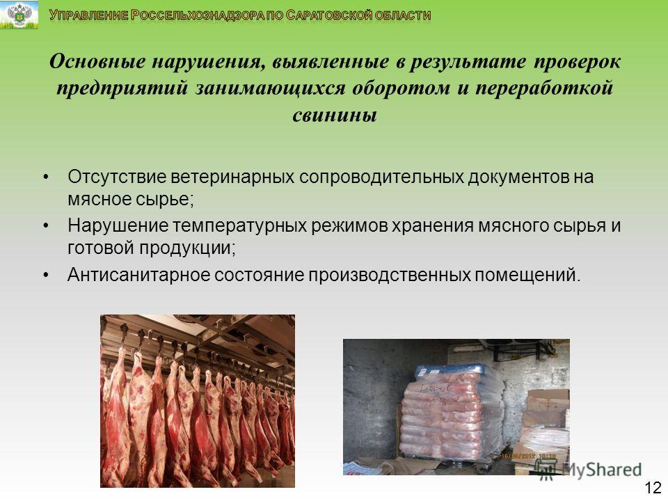 Основные нарушения, выявленные в результате проверок предприятий занимающихся оборотом и переработкой свинины Отсутствие ветеринарных сопроводительных документов на мясное сырье; Нарушение температурных режимов хранения мясного сырья и готовой продук