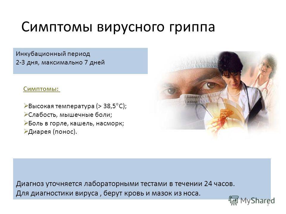 3 Симптомы вирусного гриппа Инкубационный период 2-3 дня, максимально 7 дней Симптомы: Высокая температура (> 38,5°С); Слабость, мышечные боли; Боль в горле, кашель, насморк; Диарея (понос). Диагноз уточняется лабораторными тестами в течении 24 часов
