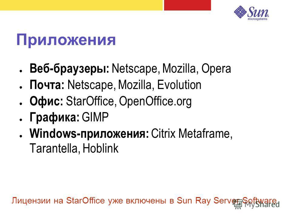 Приложения Веб-браузеры: Netscape, Mozilla, Opera Почта: Netscape, Mozilla, Evolution Офис: StarOffice, OpenOffice.org Графика: GIMP Windows-приложения: Citrix Metaframe, Tarantella, Hoblink Лицензии на StarOffice уже включены в Sun Ray Server Softwa