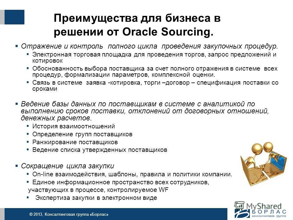 © 2013, Консалтинговая группа «Борлас» Преимущества для бизнеса в решении от Oracle Sourcing. Отражение и контроль полного цикла проведения закупочных процедур. Электронная торговая площадка для проведения торгов, запрос предложений и котировок Обосн