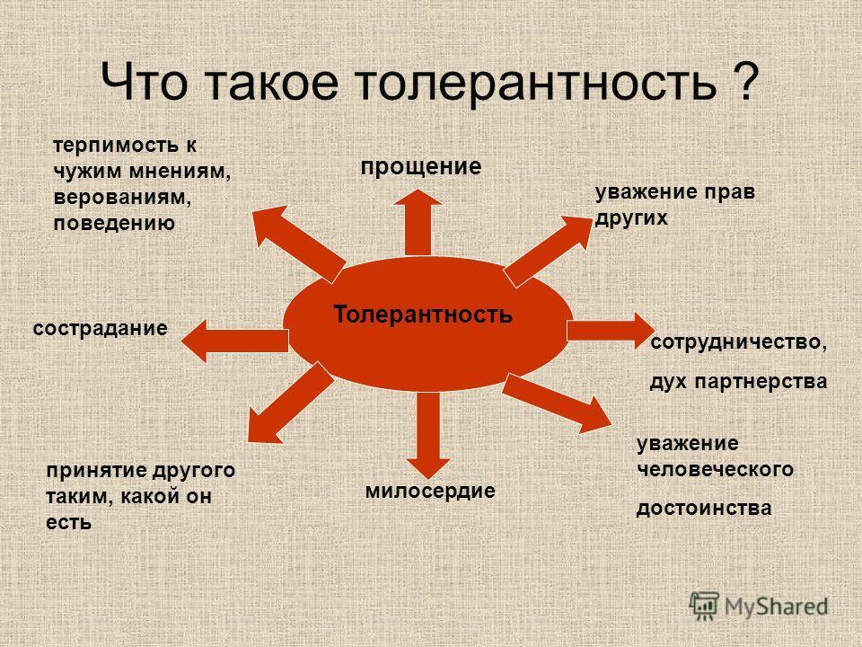Что такое толерантность ? Толерантность прощение уважение прав других сотрудничество, дух партнерства уважение человеческого достоинства милосердие терпимость к чужим мнениям, верованиям, поведению сострадание принятие другого таким, какой он есть