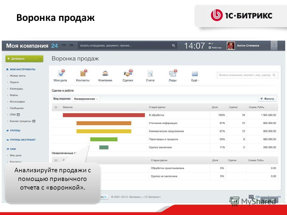 Воронка продаж Анализируйте продажи с помощью привычного отчета с «воронкой».