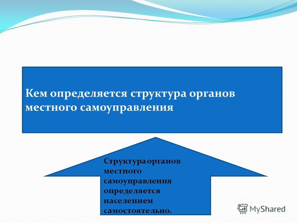 Кем определяется структура органов местного самоуправления Структура органов местного самоуправления определяется населением самостоятельно.