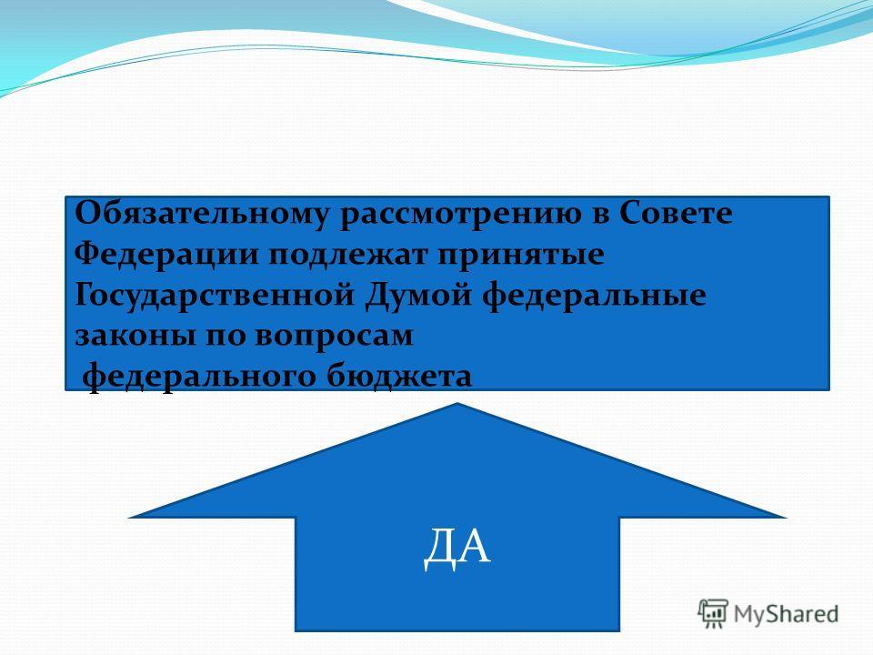 Обязательному рассмотрению в Совете Федерации подлежат принятые Государственной Думой федеральные законы по вопросам федерального бюджета ДА