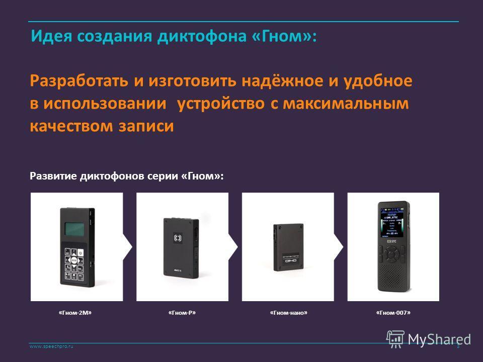 www.speechpro.ru Идея создания диктофона «Гном»: Разработать и изготовить надёжное и удобное в использовании устройство с максимальным качеством записи Развитие диктофонов серии «Гном»: «Гном-2М»«Гном-Р»«Гном-нано»«Гном-007» 3