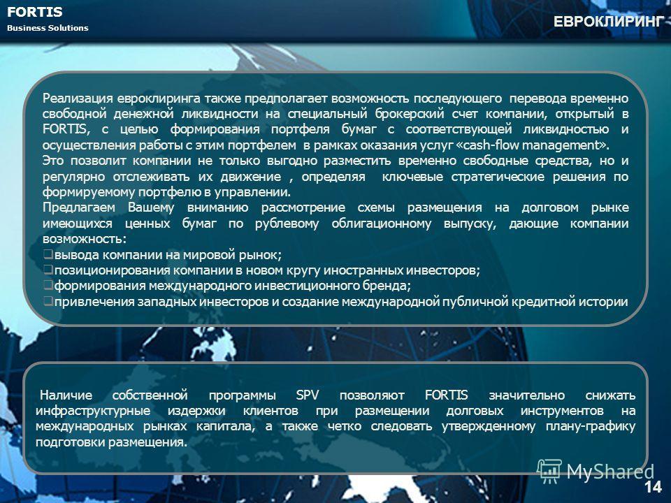 FORTIS Business Solutions ЕВРОКЛИРИНГ 14 Реализация евроклиринга также предполагает возможность последующего перевода временно свободной денежной ликвидности на специальный брокерский счет компании, открытый в FORTIS, с целью формирования портфеля бу
