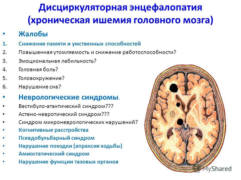 Дисциркуляторная энцефалопатия (хроническая ишемия головного мозга) Жалобы 1.Снижение памяти и умственных способностей 2.Повышенная утомляемость и снижение работоспособности? 3.Эмоциональная лабильность? 4.Головная боль? 5.Головокружение? 6.Нарушение
