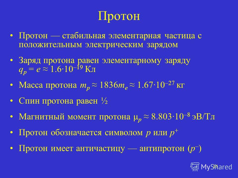 15 Протон Протон стабильная элементарная частица с положительным электрическим зарядом Заряд протона равен элементарному заряду q p = e 1.610 –19 Кл Масса протона m p 1836m e 1.6710 –27 кг Спин протона равен ½ Магнитный момент протона μ p 8.80310 –8
