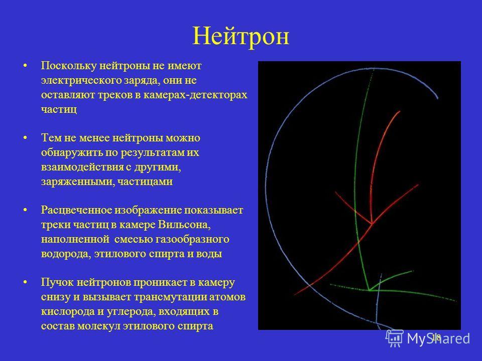 18 Нейтрон Поскольку нейтроны не имеют электрического заряда, они не оставляют треков в камерах-детекторах частиц Тем не менее нейтроны можно обнаружить по результатам их взаимодействия с другими, заряженными, частицами Расцвеченное изображение показ