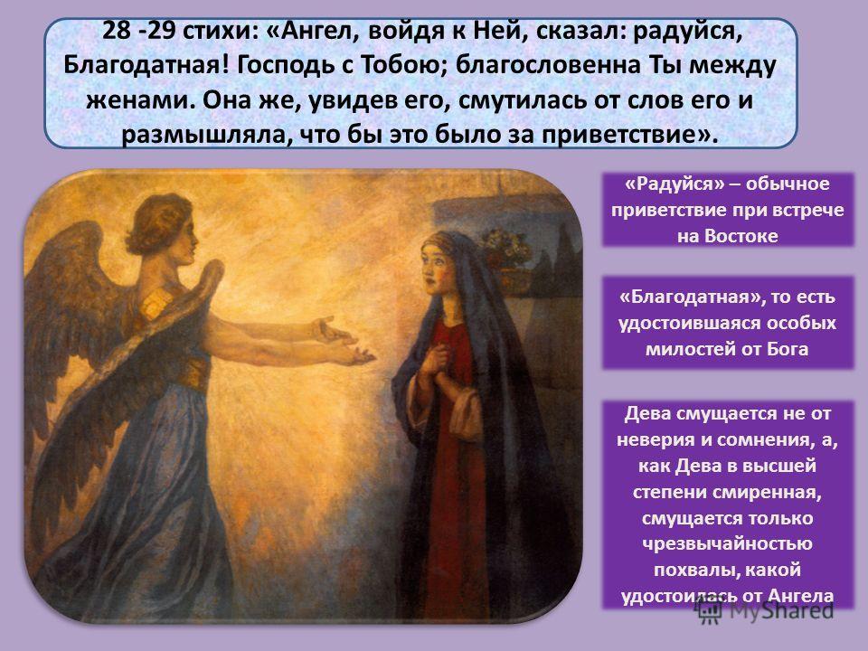 28 -29 стихи: «Ангел, войдя к Ней, сказал: радуйся, Благодатная! Господь с Тобою; благословенна Ты между женами. Она же, увидев его, смутилась от слов его и размышляла, что бы это было за приветствие». «Радуйся» – обычное приветствие при встрече на В