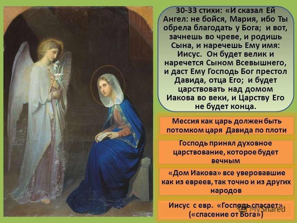 30-33 стихи: «И сказал Ей Ангел: не бойся, Мария, ибо Ты обрела благодать у Бога; и вот, зачнешь во чреве, и родишь Сына, и наречешь Ему имя: Иисус. Он будет велик и наречется Сыном Всевышнего, и даст Ему Господь Бог престол Давида, отца Его; и будет