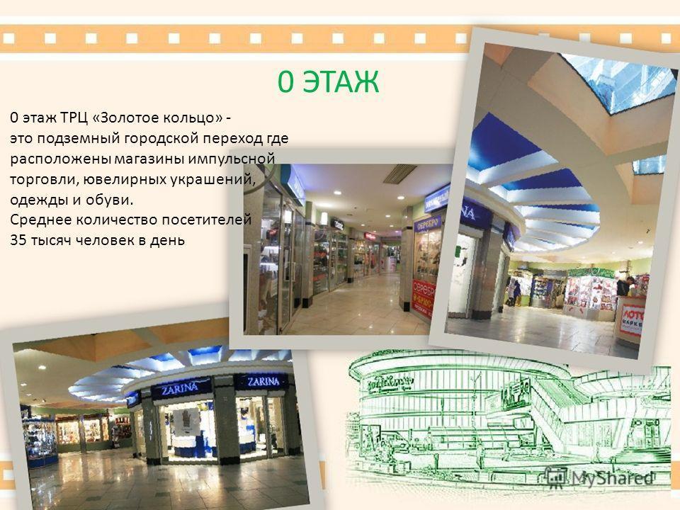 0 ЭТАЖ 0 этаж ТРЦ «Золотое кольцо» - это подземный городской переход где расположены магазины импульсной торговли, ювелирных украшений, одежды и обуви. Среднее количество посетителей 35 тысяч человек в день