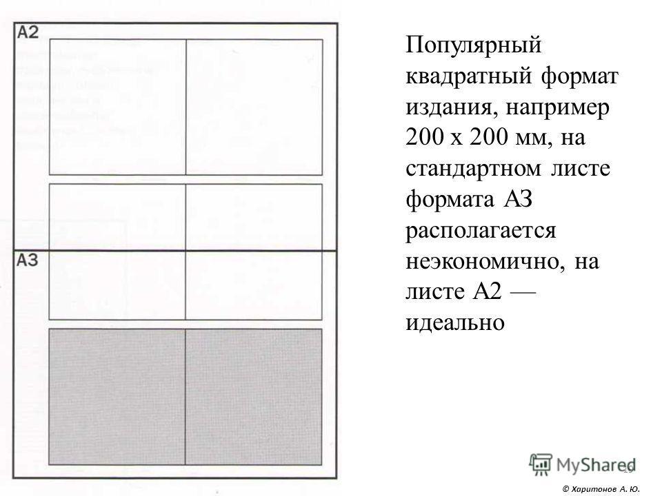 © Харитонов А. Ю. 19 Популярный квадратный формат издания, например 200 х 200 мм, на стандартном листе формата АЗ располагается неэкономично, на листе А2 идеально