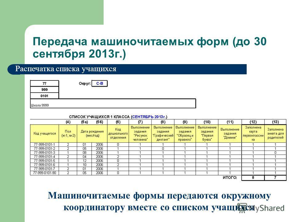 Распечатка списка учащихся Машиночитаемые формы передаются окружному координатору вместе со списком учащихся Передача машиночитаемых форм (до 30 сентября 2013г.)