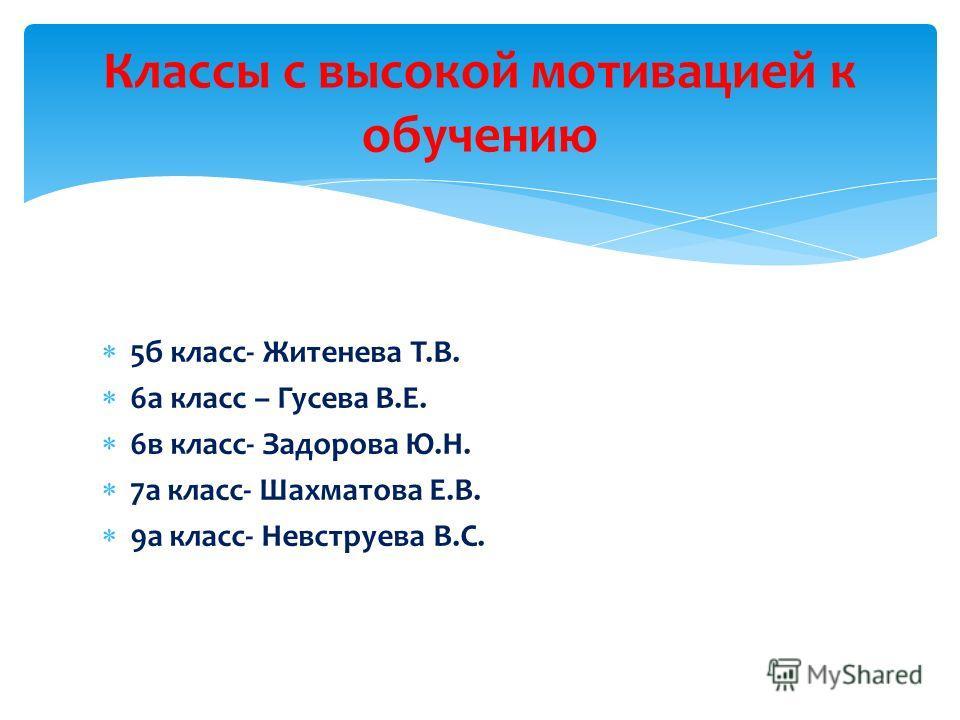 5б класс- Житенева Т.В. 6а класс – Гусева В.Е. 6в класс- Задорова Ю.Н. 7а класс- Шахматова Е.В. 9а класс- Невструева В.С. Классы с высокой мотивацией к обучению