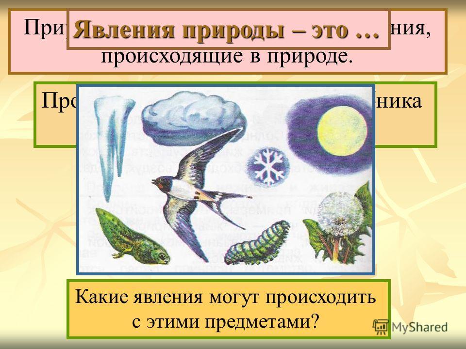 Прочитай 1-ый абзац на с.16 учебника и закончи предложение. Природные явления – это все изменения, происходящие в природе. Какие явления могут происходить с этими предметами? Явления природы – это …